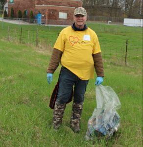 Man with trash bag