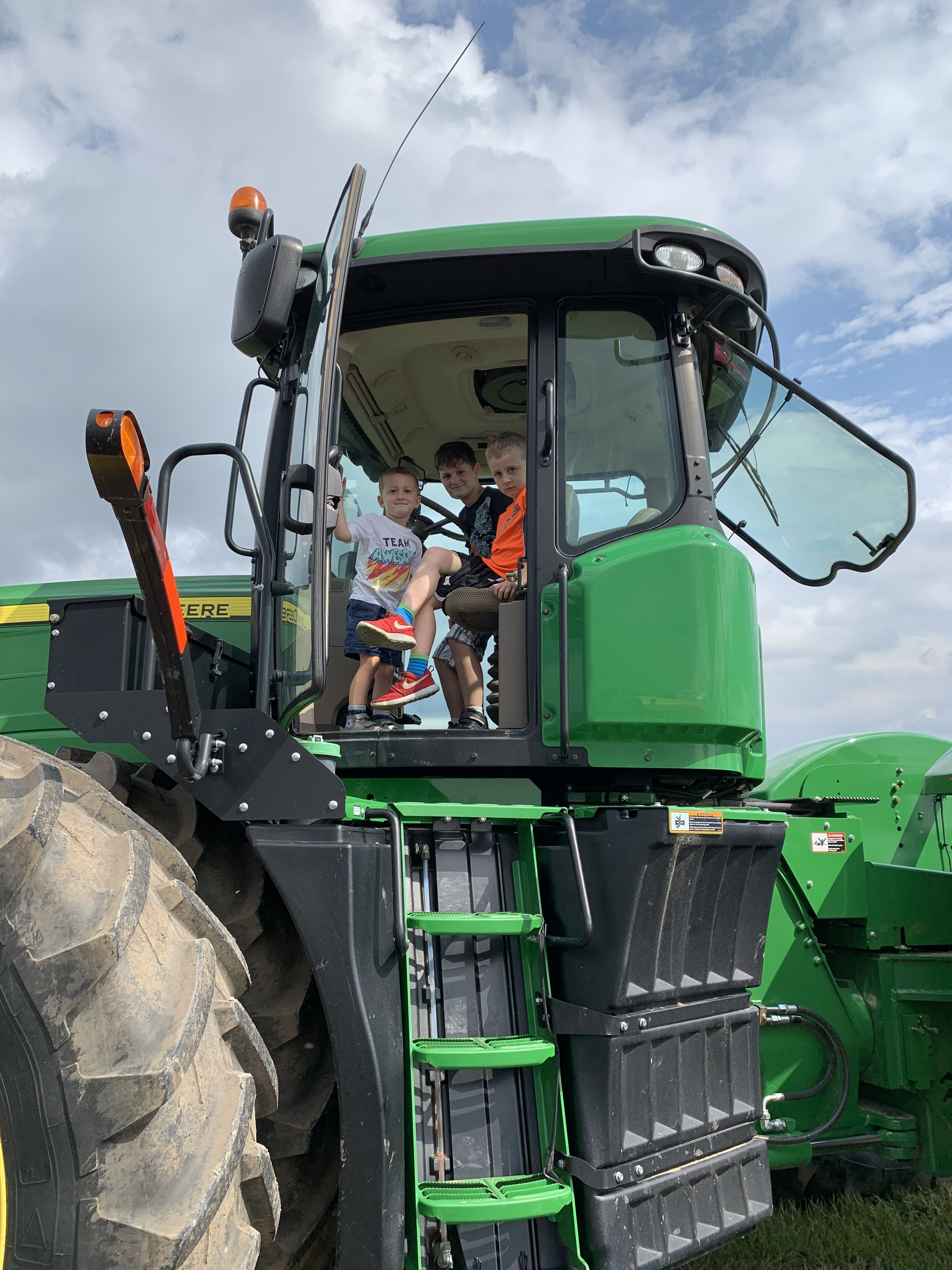 Kids in tractor