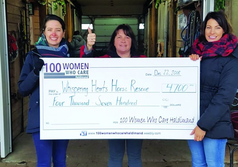 100 Women Who Care make donation to Whispering Hearts