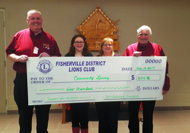 Fisherville Lions  make donation to  Community Living Access