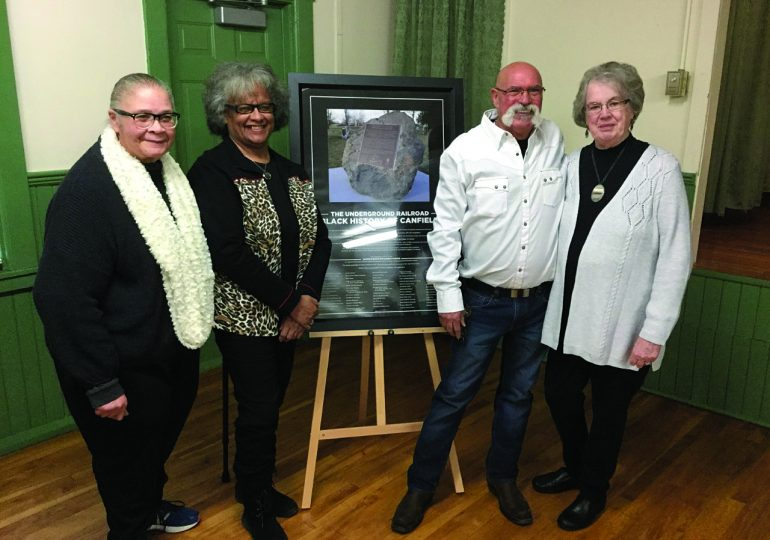 Donors recognized for Canfield Underground Railroad marker