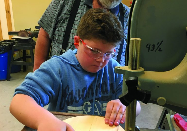 4-H Woodworking Club working on final achievement projects