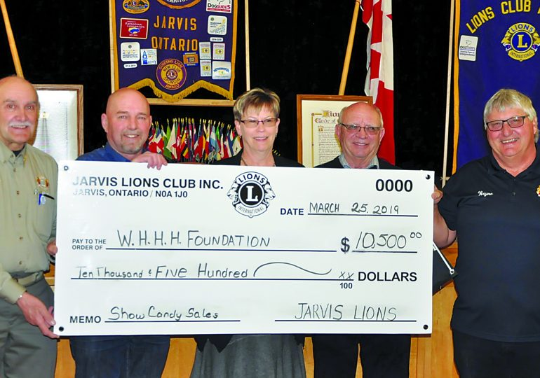 Jarvis Lions donate $10,500 to Hagersville hospital foundation