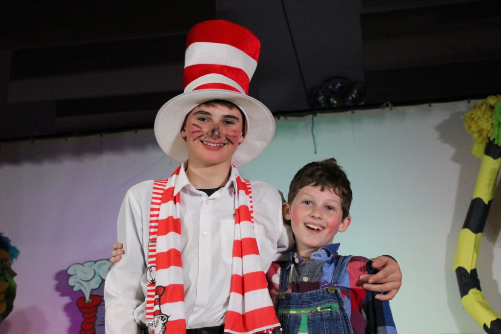 Two boys, one dressed as Cat in the Hat