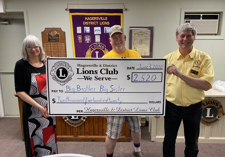 Hagersville Lions make donation to Big Brothers Big Sisters