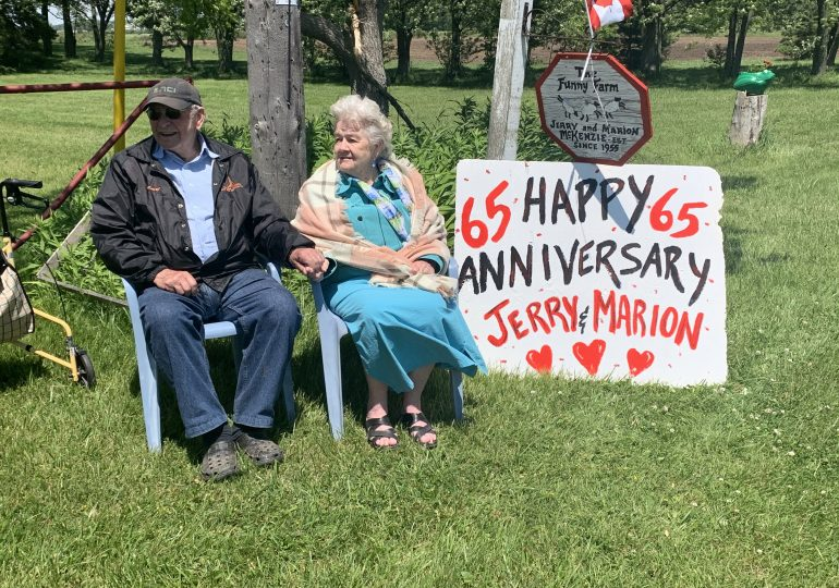Celebrating a 65th wedding anniversary from a distance