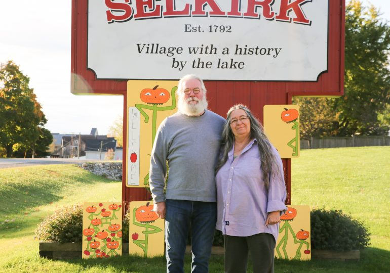 Selkirk's scarecrows look a little different this year: 54 pumpkin-head scarerows painted for town's main streets