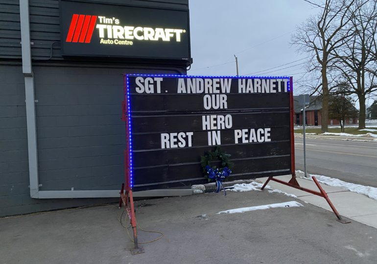 Hagersville honours Sergeant Andrew Harnett with blue lights and ribbons