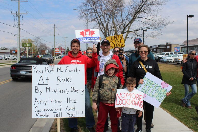 Crowd of protesters in Caledonia  call for immediate end to lockdowns